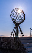 The famous globe monument at North Cape (Nordkapp)
