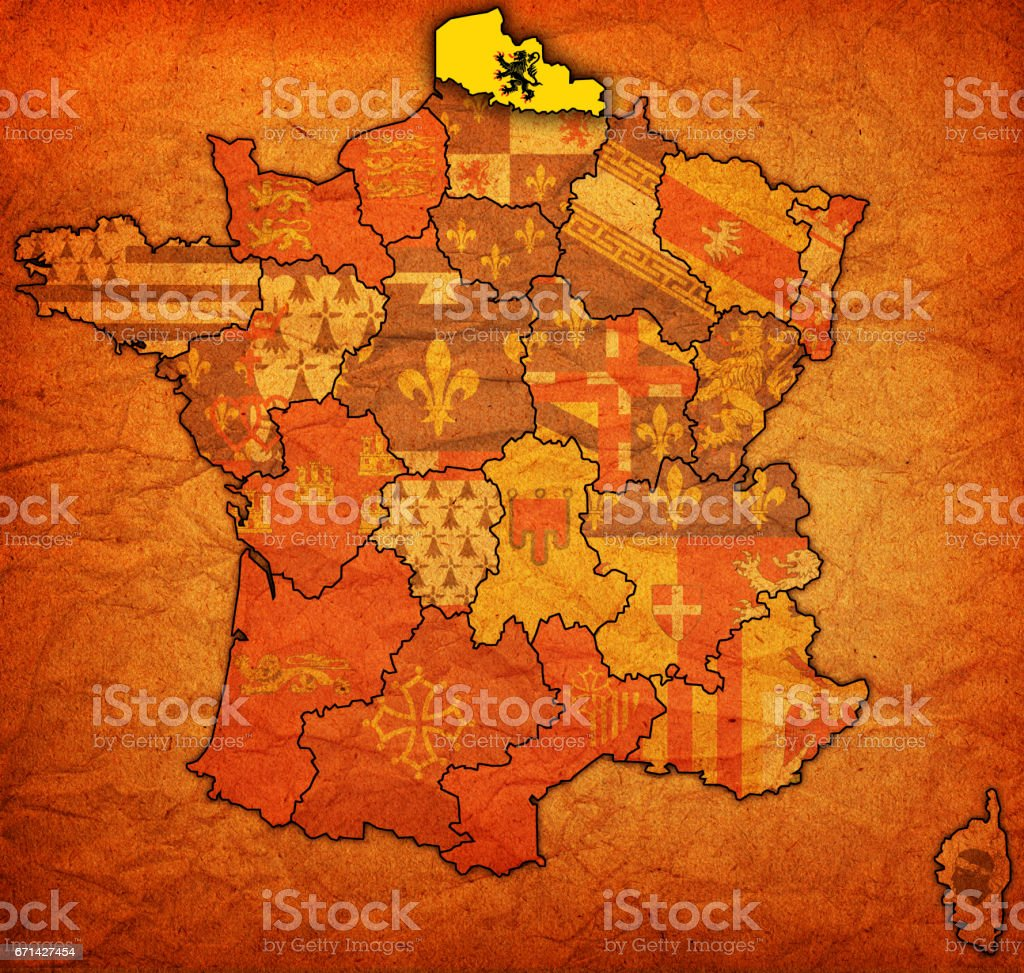 Map Of France Calais.Nordpasdecalais On Old Map Of France Stock Photo More Pictures Of