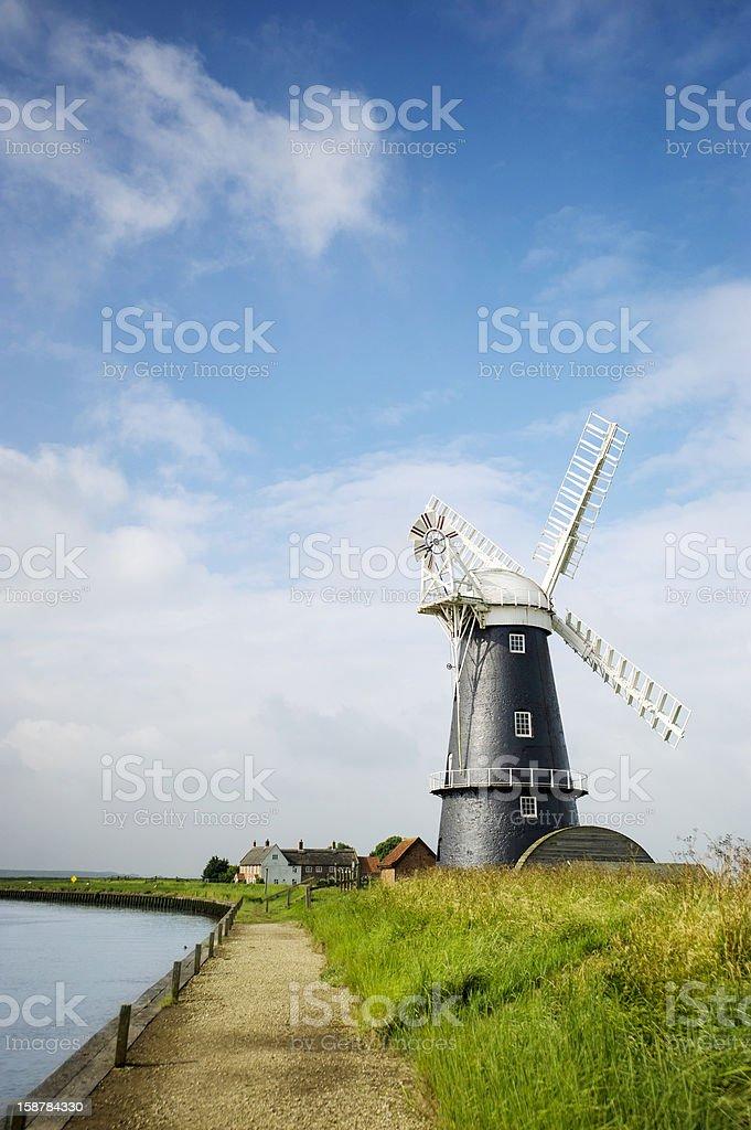 Norfolk Broads black and white windmill landscape stock photo