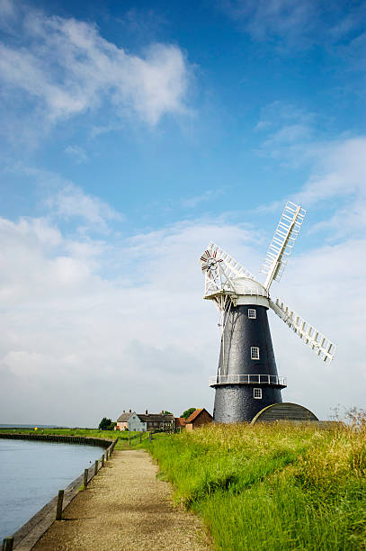 Norfolk Broads black and white windmill landscape stock photo