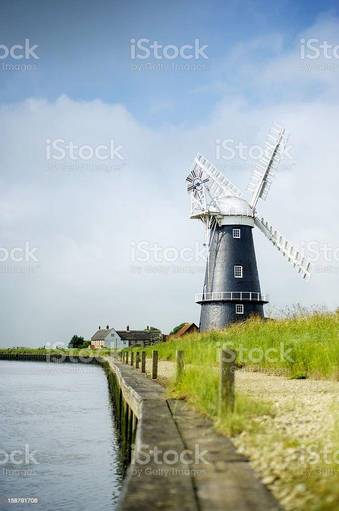 Norfolk Broads black and white windmill stock photo