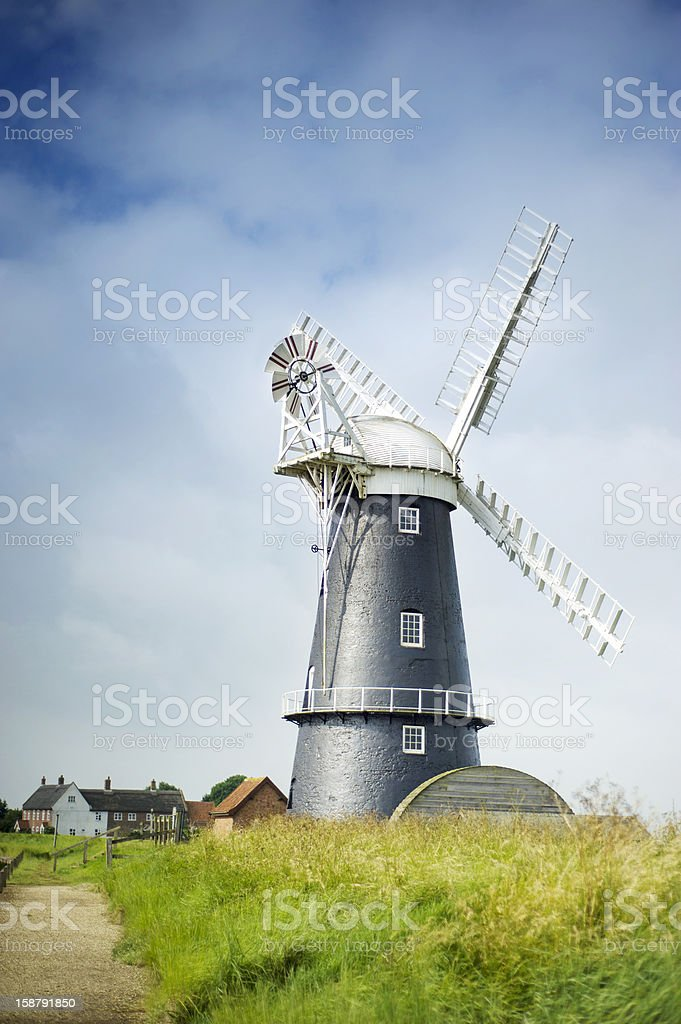 Norfolk Broads black and white windmill royalty-free stock photo