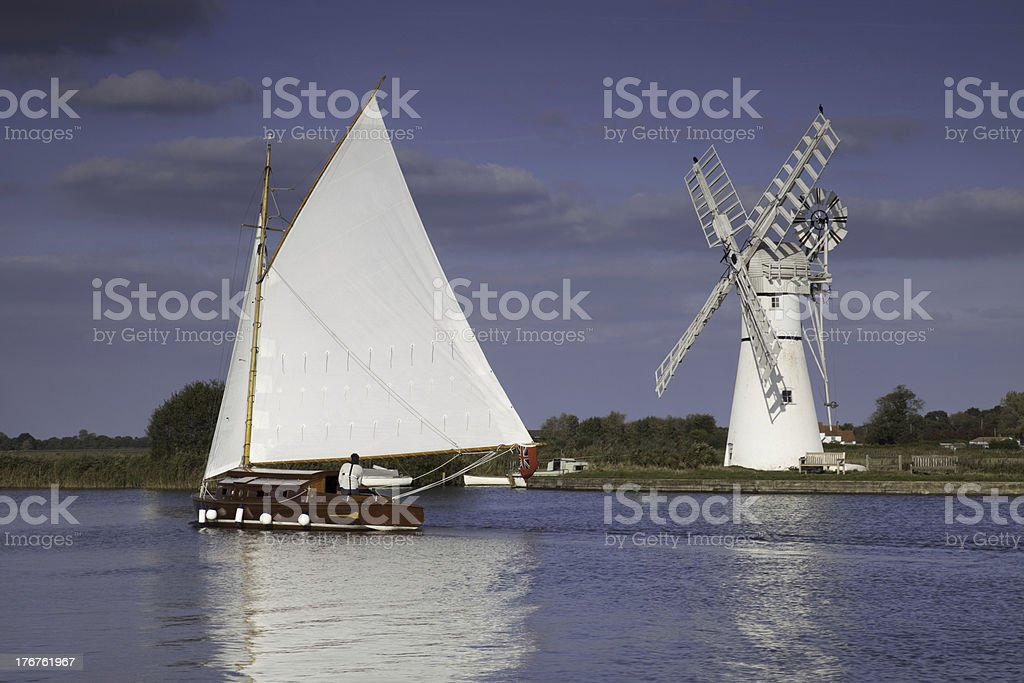 Norfolk Broads Wherry and Thurne Mill stock photo