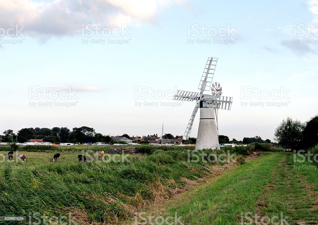 Norfolk Broads Windmill stock photo
