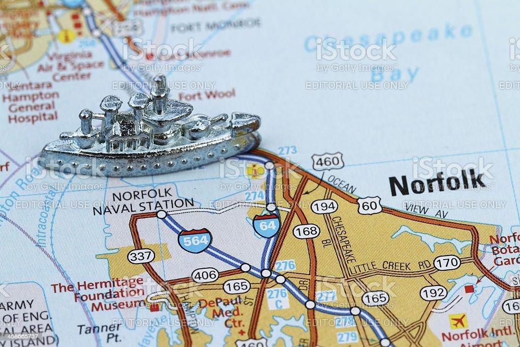 Norfolk Naval Base with battleship game piece royalty-free stock photo