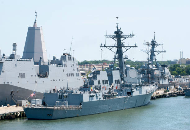 Norfolk Navy Ships Different size navy ships in a military base outside Norfolk (West Virginia). military base stock pictures, royalty-free photos & images