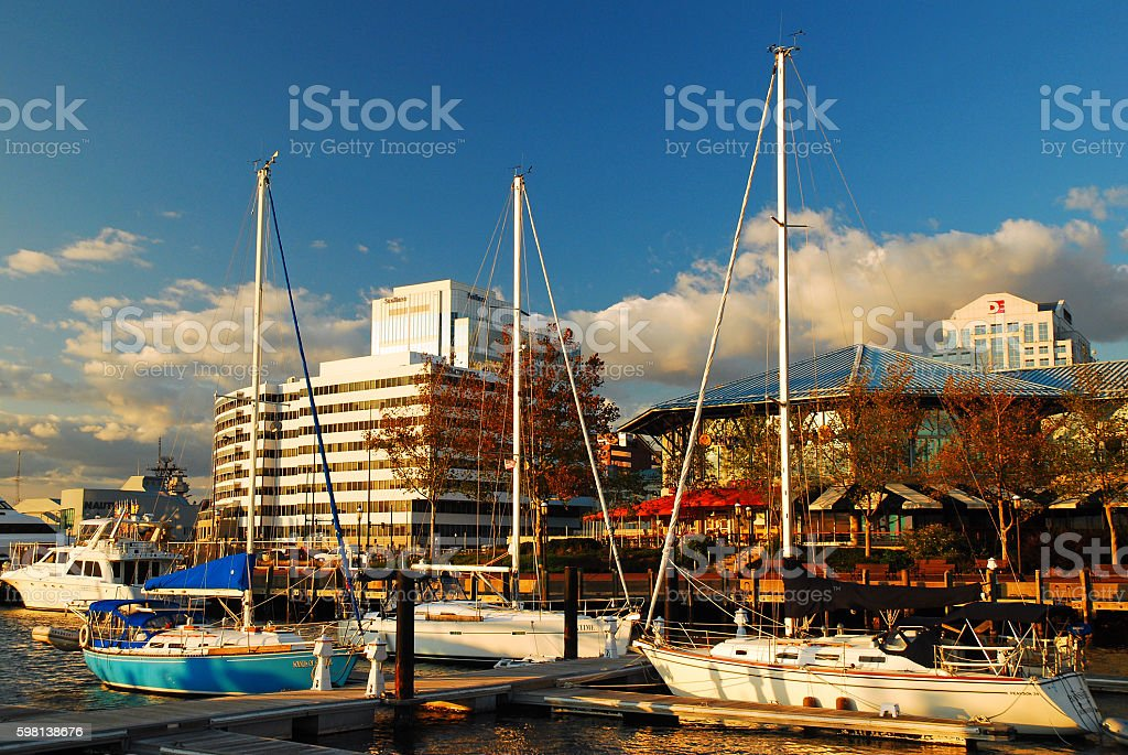 Norfolk Virginia as Seen from the Marina at Waterside stock photo
