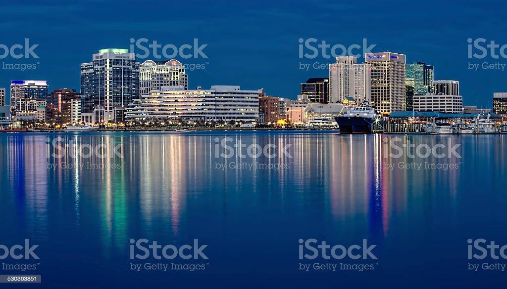 Norfolk Virginia skyline & reflection at twlight during Christmas stock photo