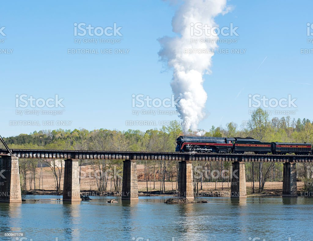 Norfolk & Western 611 Crossing Catawba River Bridge stock photo