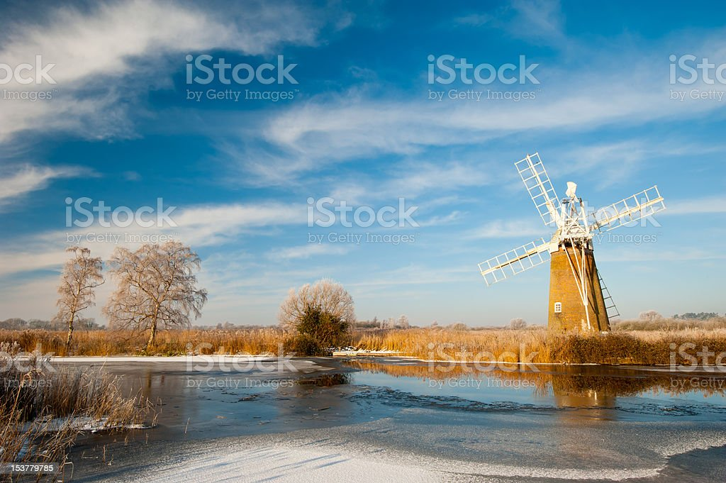 Norfolk windmill in winter stock photo