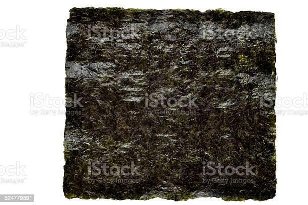 Nori Seaweed Sheet On A White Stockfoto en meer beelden van Abstract