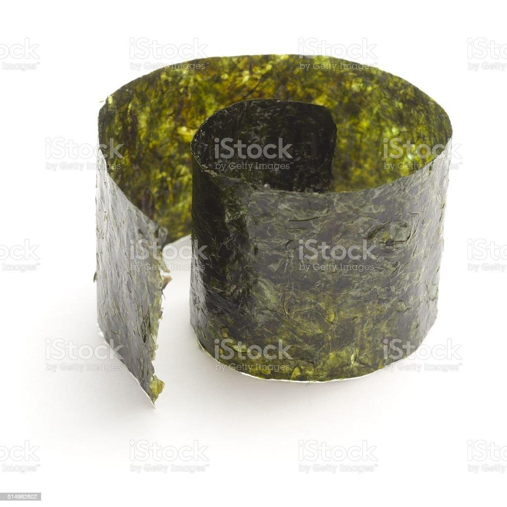 Nori  strip edible seaweed coiled stock photo