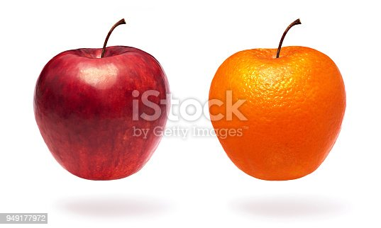Normal apple and apple with orange peel