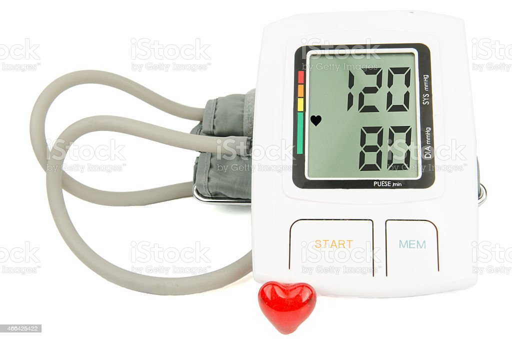 normal blood pressure digital monitor stock photo