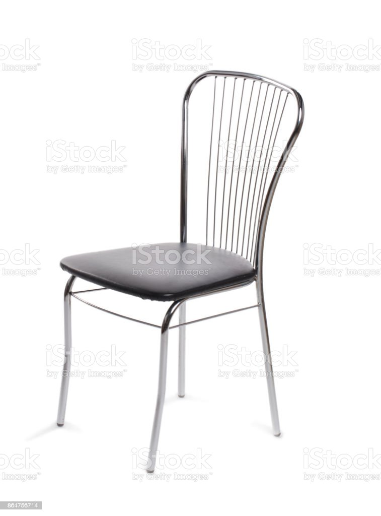 Normal gray chair on white isolated background with backrest stock photo