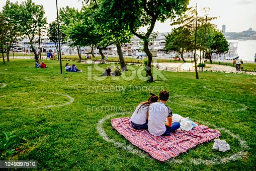 Istanbul / Turkey - Jun 6 2020: Citizens spend time in the social circle drawn in the by the municipality.