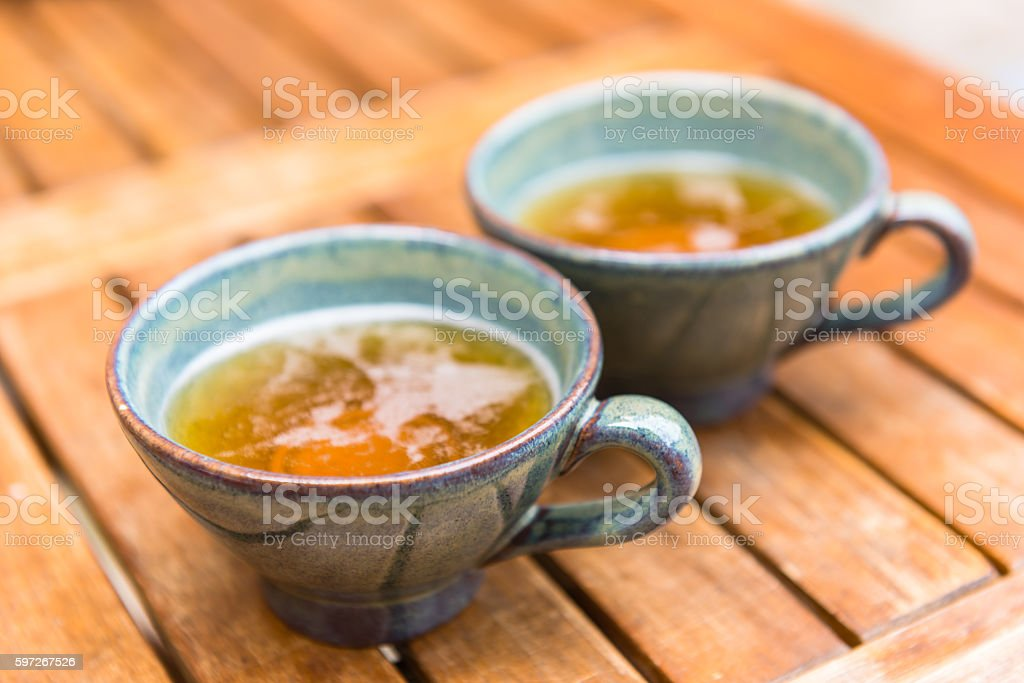Norman apple cider in a typical ceramic cups royalty-free stock photo