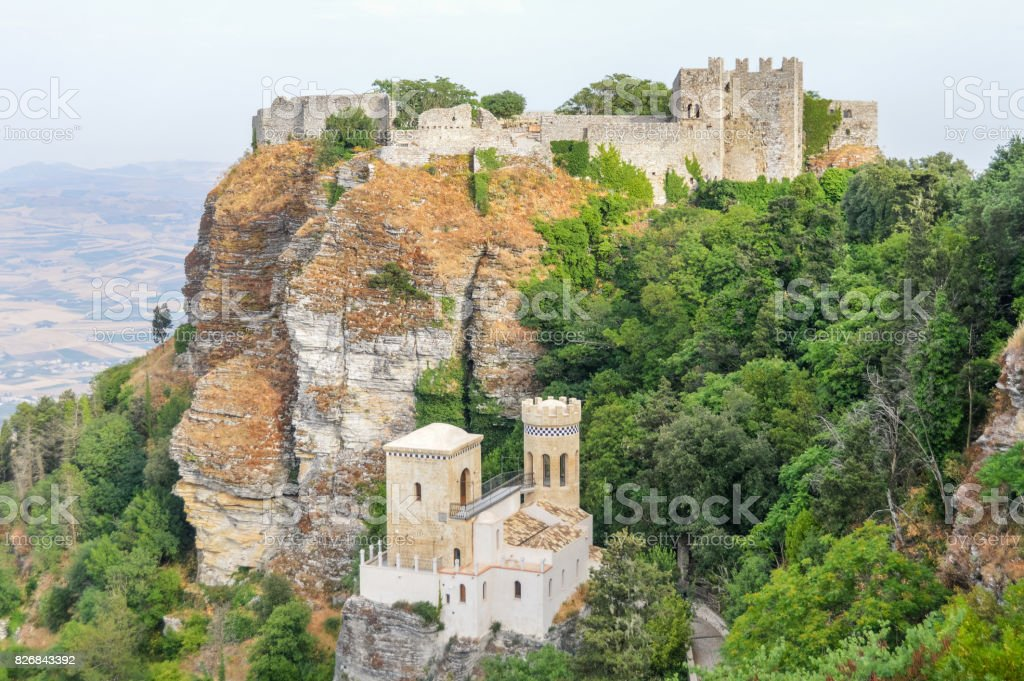 Norman Castle in Erice, Sicily, Italy stock photo