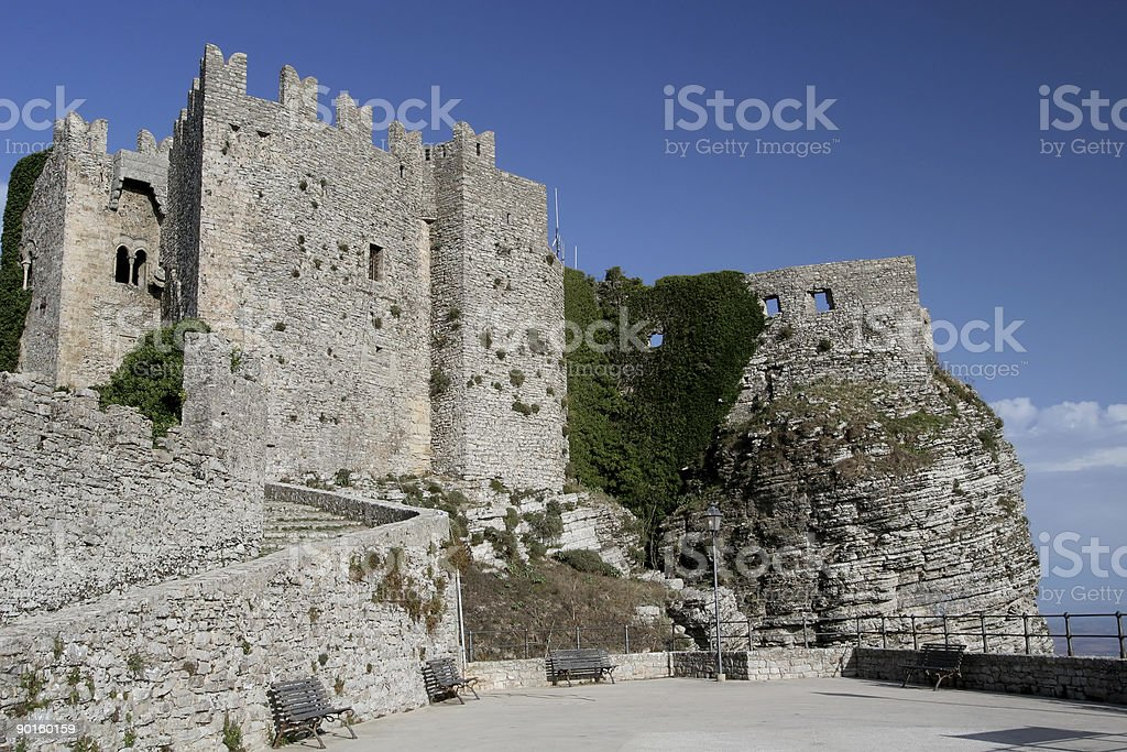 Norman Castle in Erice, Sicily stock photo