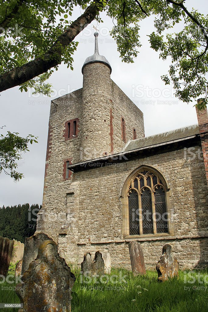Norman church in English village royalty-free stock photo