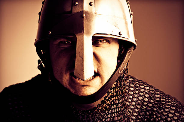 norman knight helmet and chain mail armour - the crusades stock photos and pictures