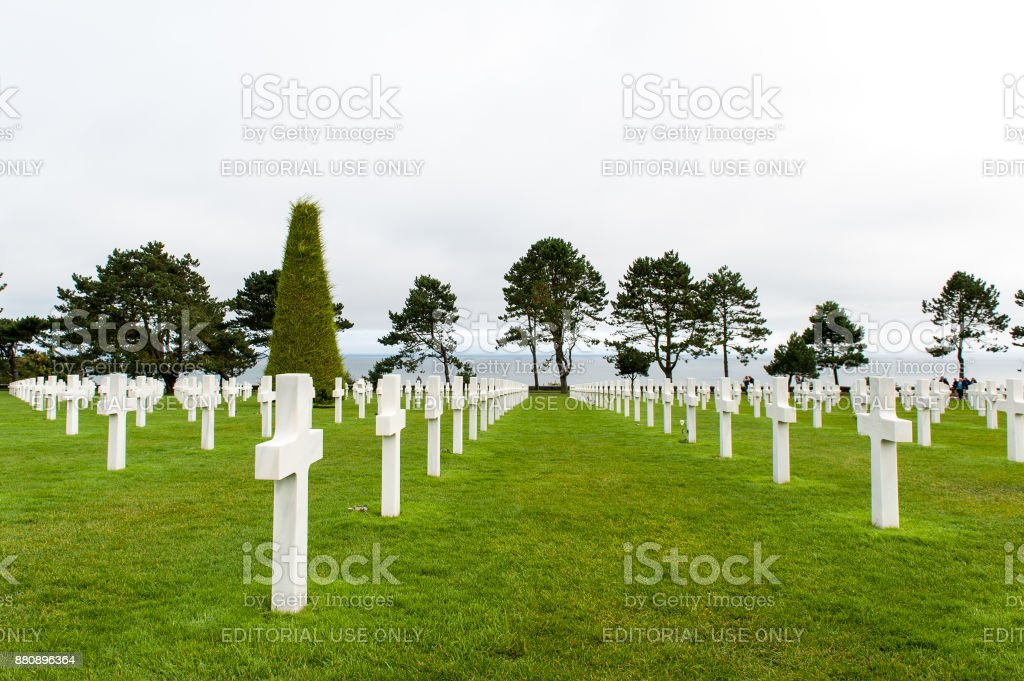 Normandy American Cemetery and view at the Atlantic Ocean stock photo