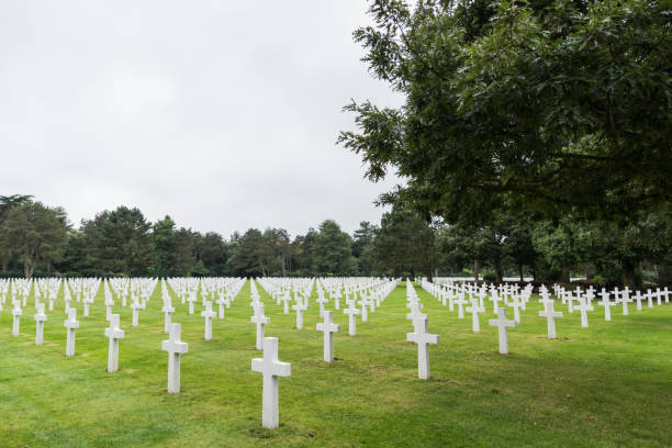 Normandy American military cemetery and memorial at Omaha Beach, Colleville-sur-Mer, Normandy, France stock photo