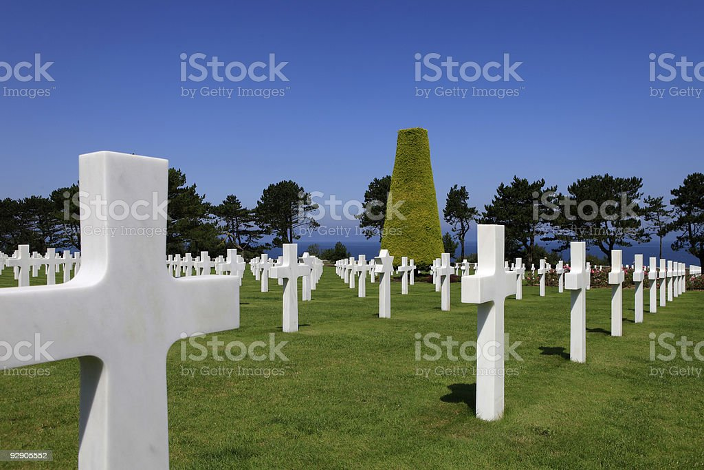 Normandy American War Cemetery and Memorial at Omaha Beach stock photo