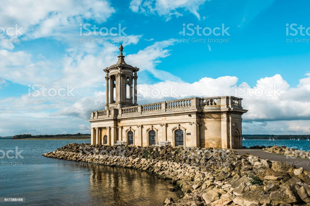 Normanton Church in Rutland Water Park, England. stock photo
