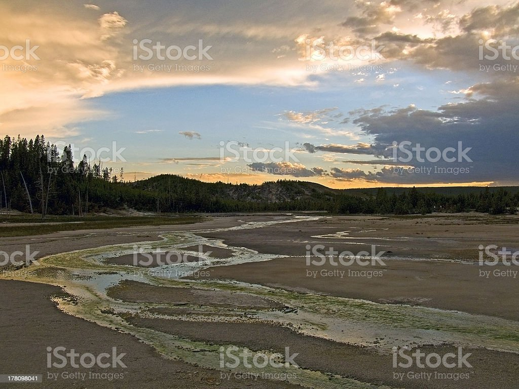 Norris Geyser Basin Sunset stock photo