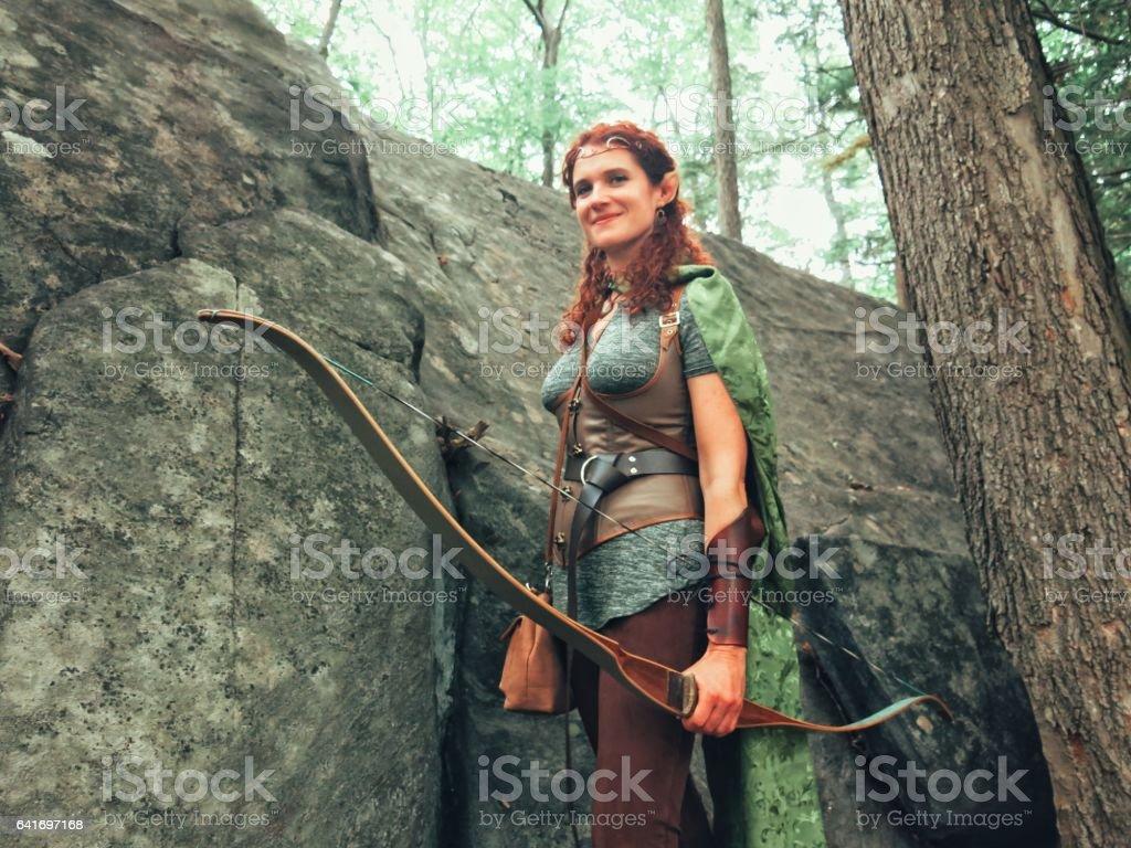 Norse Medieval Mythology Female Archer Elf In Forest Glade Stock
