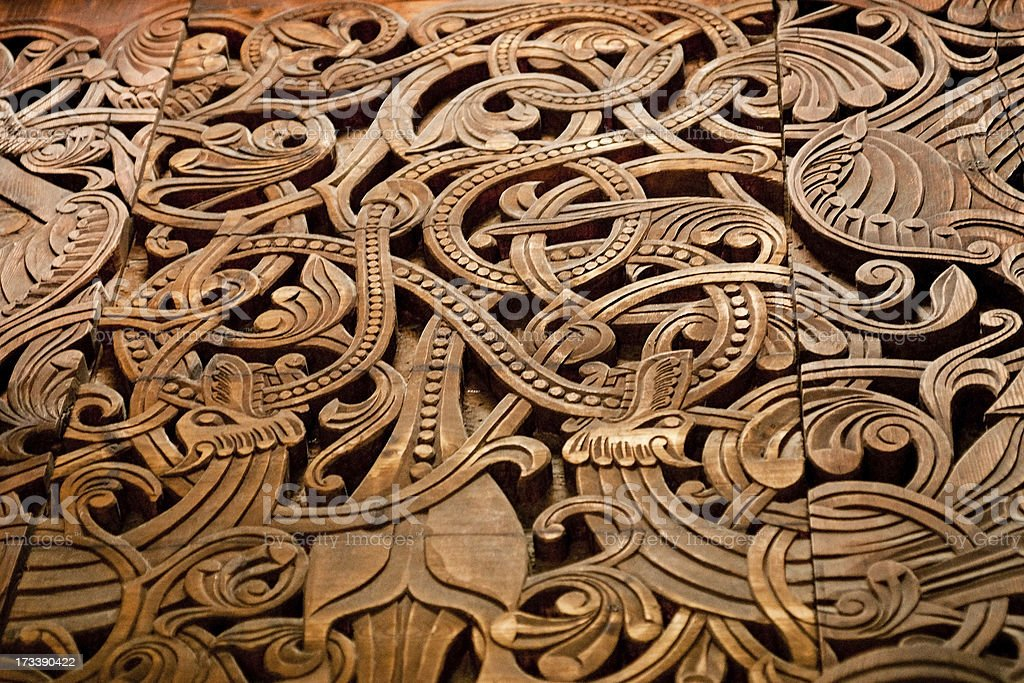 Norse wooden carving royalty-free stock photo