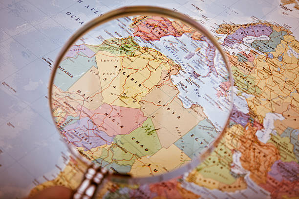 north africa map, selective focus - north africa stock photos and pictures
