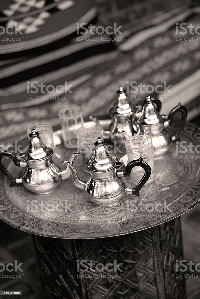 North African cafe, table detail (monochrome) royalty-free stock photo