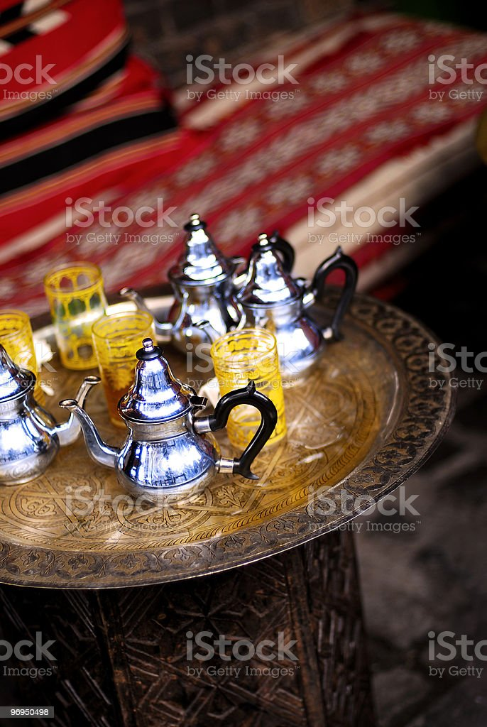 North African cafe, table detail (Morocco, Algeria, Tunisia etc) royalty-free stock photo
