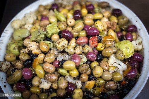 North African Food at Market: Olive Mix at Market. Shot in Marseille, France.