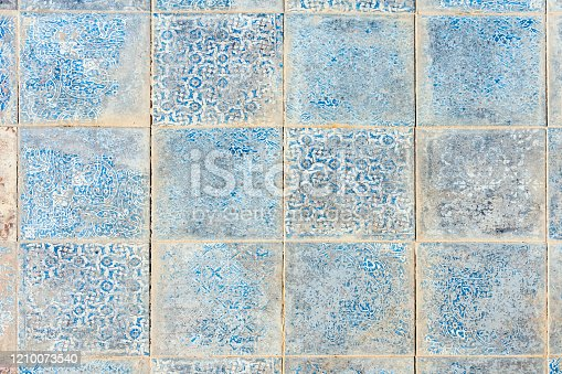North African worn ceramic tiles in Taghazout, Morocco.