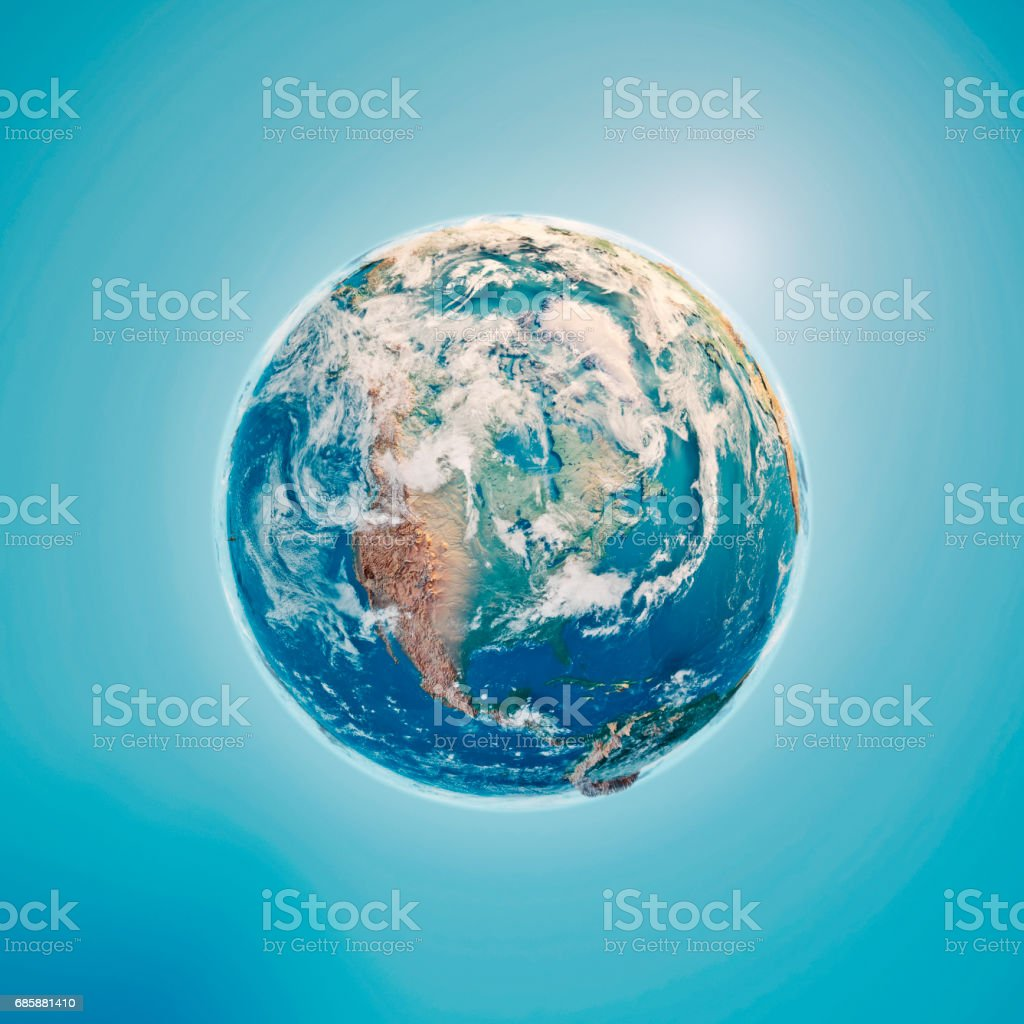 North America 3D Render Planet Earth Clouds stock photo