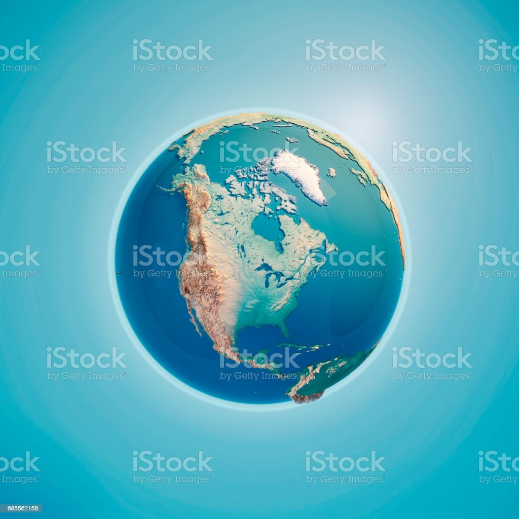 North America 3D Render Planet Earth stock photo