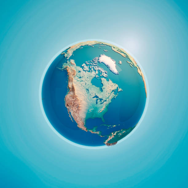 north america 3d render planet earth - north america stock photos and pictures