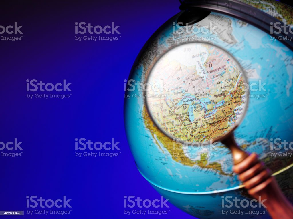 North America and Canada on a Desktop Globe royalty-free stock photo