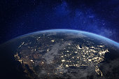 North America at night viewed from space with city lights showing human activity in United States (USA), Canada and Mexico, New York, California, 3d rendering of planet Earth, elements from NASA (https://eoimages.gsfc.nasa.gov/images/imagerecords/57000/57752/land_shallow_topo_2048.jpg)