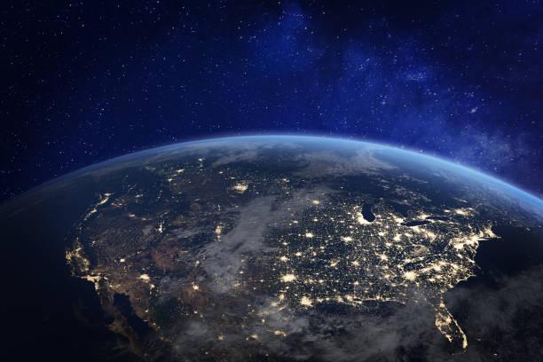ameryka północna w nocy oglądana z kosmosu ze światłami miejskimi przedstawiającymi aktywność człowieka w stanach zjednoczonych (usa), kanadzie i meksyku, nowym jorku, kalifornii, renderowaniu 3d planety ziemi, elementy z nasa - atmosfera wydarzenia zdjęcia i obrazy z banku zdjęć