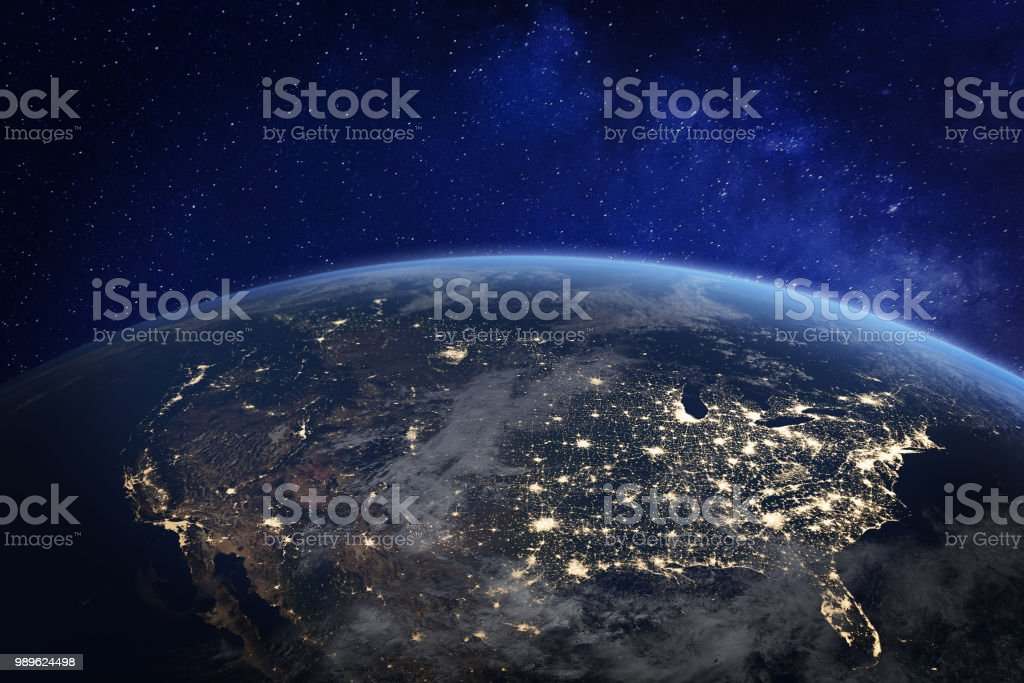 North America at night viewed from space with city lights showing human activity in United States (USA), Canada and Mexico, New York, California, 3d rendering of planet Earth, elements from NASA stock photo