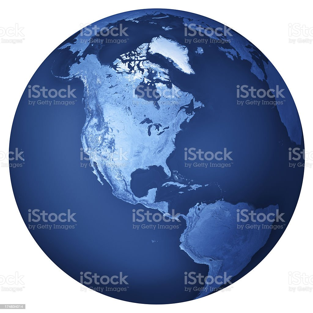 North America Blue Planet Earth Isolated royalty-free stock photo