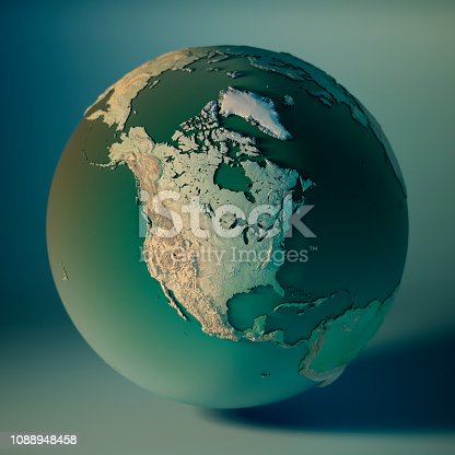 North America Globe 3D Render of the Planet Earth, Depth of field effect. Made with Natural Earth. URL of source data: http://www.naturalearthdata.com Relief texture SRTM data courtesy of NASA. URL of source image: http://reverb.echo.nasa.gov The source data is in the public domain.