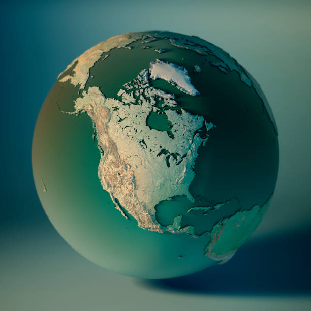 north america globe 3d render planet earth dof - north america stock photos and pictures