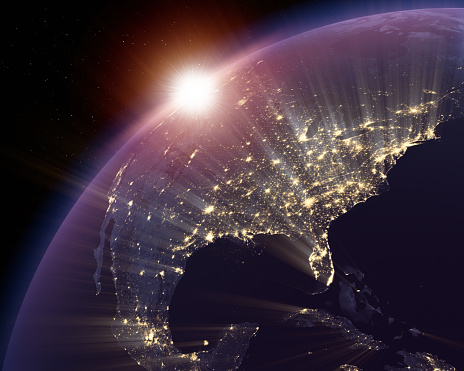 istock North America lit at night with focus on USA 482954425