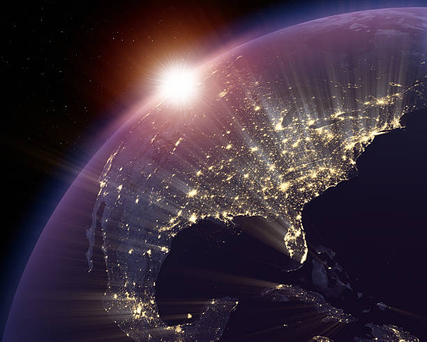 North America lit at night with focus on USA stock photo