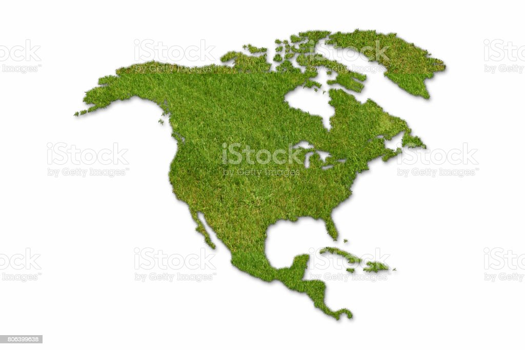 North America map green grass stock photo